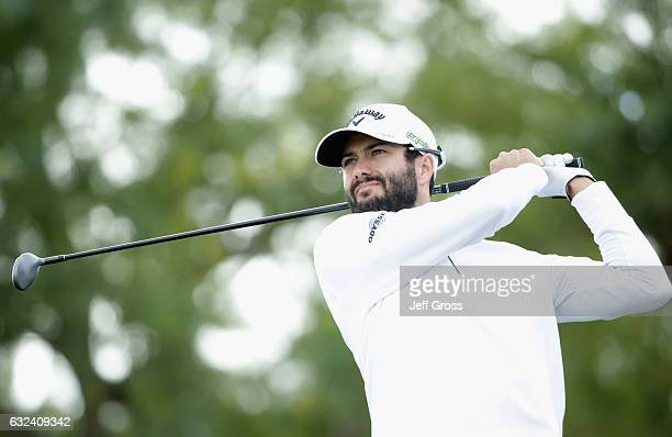 Adam Hadwin of Canada plays his shot from the ninth tee during the final round of the CareerBuilder Challenge in partnership with The Clinton...