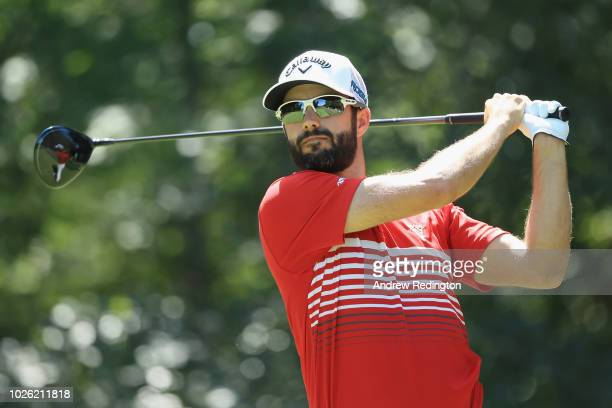 Adam Hadwin of Canada plays his shot from the second tee during round three of the Dell Technologies Championship at TPC Boston on September 2 2018...