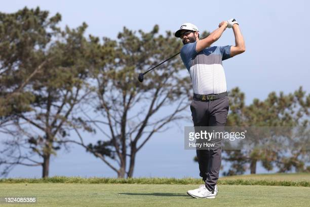Adam Hadwin of Canada plays his shot from the second tee during the first round of the 2021 U.S. Open at Torrey Pines Golf Course on June 17, 2021 in...