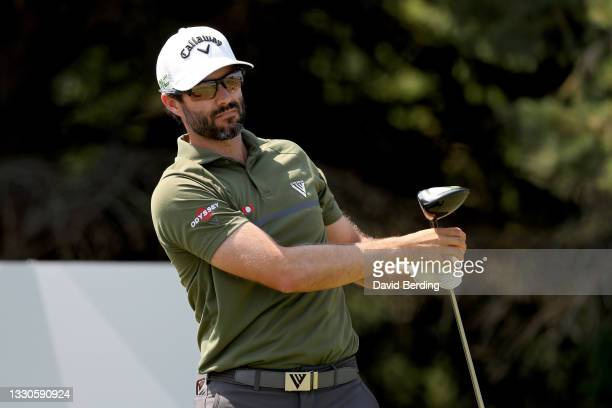 Adam Hadwin of Canada plays his shot from the second tee during the final round of the 3M Open at TPC Twin Cities on July 25, 2021 in Blaine,...