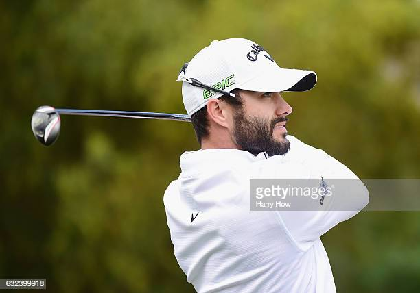 Adam Hadwin of Canada plays his shot from the second tee during the final round of the CareerBuilder Challenge in partnership with The Clinton...