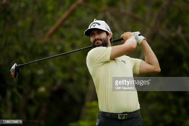 Adam Hadwin of Canada plays his shot from the seventh tee during the first round of the Mayakoba Golf Classic at El Camaleón Golf Club on December...
