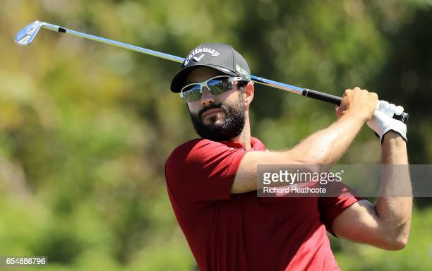 Adam Hadwin of Canada plays his shot from the seventh tee during the third round of the Arnold Palmer Invitational Presented By MasterCard at Bay...