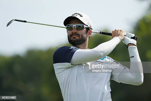 Adam Hadwin of Canada plays his shot from the sixth fairway during the final round of the OHL Classic at Mayakoba on November 13 2016 in Playa del...