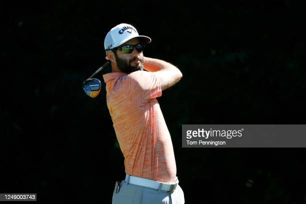 Adam Hadwin of Canada plays his shot from the sixth tee during the first round of the Charles Schwab Challenge on June 11, 2020 at Colonial Country...
