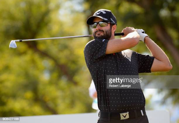 Adam Hadwin of Canada plays his shot from the sixth tee during the final round of the CareerBuilder Challenge at the TPC Stadium Course at PGA West...