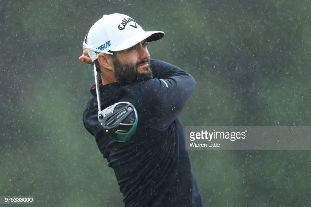 Adam Hadwin of Canada plays his shot from the sixth tee during the second round of the 2018 US Open at Shinnecock Hills Golf Club on June 15 2018 in...