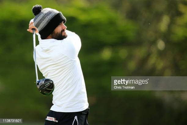 Adam Hadwin of Canada plays his shot from the third tee during the final round of the ATT Pebble Beach ProAm at Pebble Beach Golf Links on February...