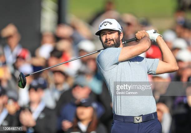 Adam Hadwin of Canada plays his tee shot on the par 4, 10th hole during the third round of the Genesis Invitational at The Riviera Country Club on...