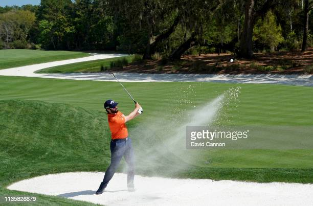 Adam Hadwin of Canada plays his third shot on the par 4 14th hole during the first round of the 2019 Players Championship held on the Stadium Course...