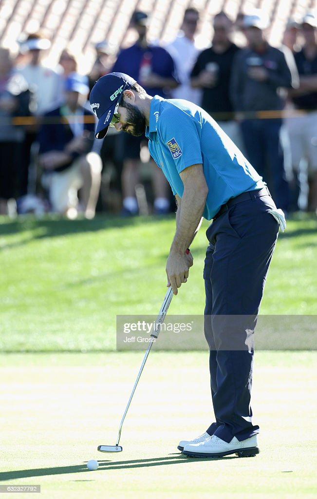 Adam Hadwin of Canada putts for birdie on the 17th hole during the third round of the CareerBuilder Challenge in Partnership with The Clinton Foundation at La Quinta Country Club on January 21, 2017 in La Quinta, California.