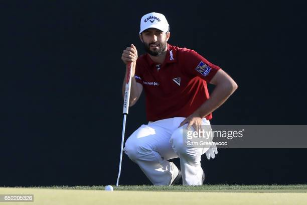 Adam Hadwin of Canada putts on the 16th green during the third round of the Valspar Championship at Innisbrook Resort Copperhead Course on March 11...