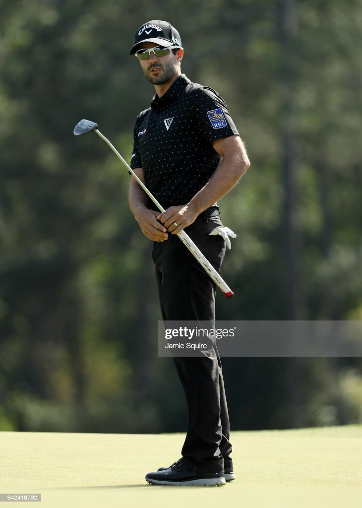 Adam Hadwin of Canada putts on the 18th green during the first round of the 2018 Masters Tournament at Augusta National Golf Club on April 5, 2018 in Augusta, Georgia.