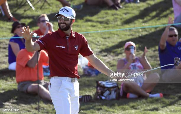 Adam Hadwin of Canada reacts after a birdie on the 15th green during the third round of the Valspar Championship at Innisbrook Resort Copperhead...