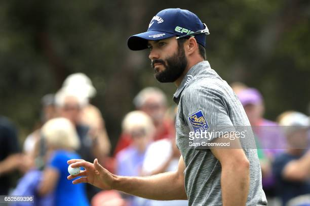Adam Hadwin of Canada reacts after a putt on the seventh green during the final round of the Valspar Championship at Innisbrook Resort Copperhead...