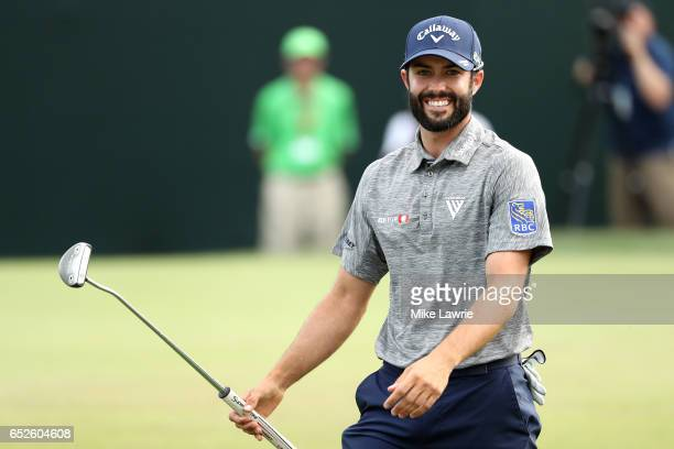 Adam Hadwin of Canada reacts on the 18th green after winning the Valspar Championship during the final round at Innisbrook Resort Copperhead Course...