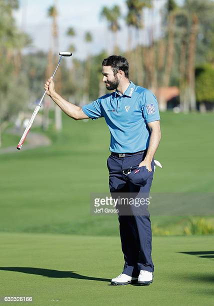 Adam Hadwin of Canada reacts to a birdie putt on the 18th hole during the third round of the CareerBuilder Challenge in Partnership with The Clinton...