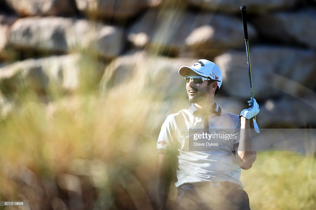 Adam Hadwin of Canada reacts to a missed hole-in-one chance on the 17th tee during the third round of the Shriners Hospitals For Children Open on November 5, 2016 in Las Vegas, Nevada.
