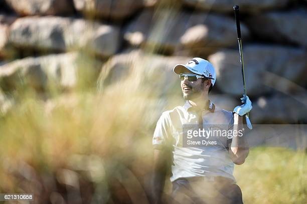 Adam Hadwin of Canada reacts to a missed holeinone chance on the 17th tee during the third round of the Shriners Hospitals For Children Open on...