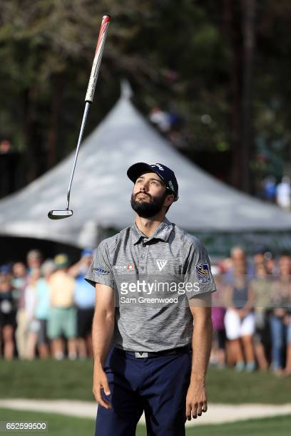 Adam Hadwin of Canada reacts to a missed putt on the 16th green during the final round of the Valspar Championship at Innisbrook Resort Copperhead...