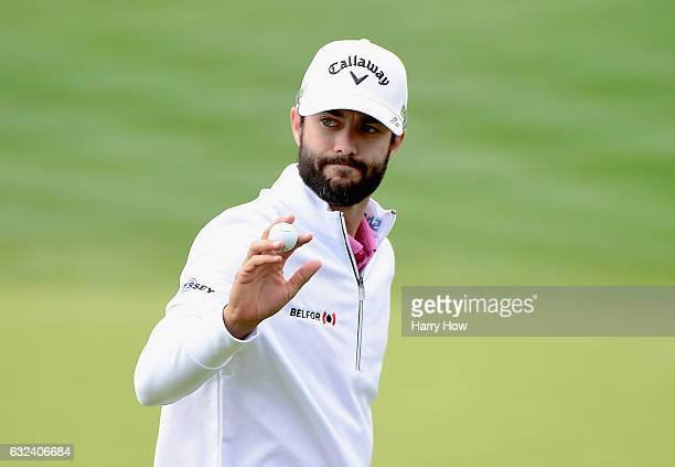 Adam Hadwin of Canada reacts to his birdie on the fifth hole during the final round of the CareerBuilder Challenge in partnership with The Clinton...