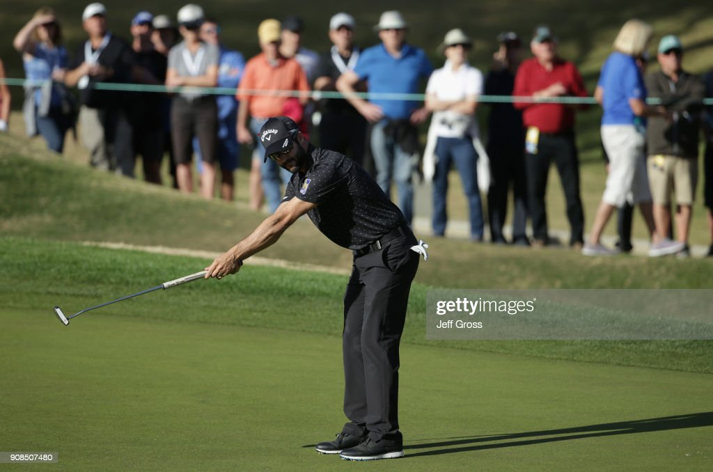 Adam Hadwin of Canada reacts to his putt during the final round of the CareerBuilder Challenge at the TPC Stadium Course at PGA West on January 21, 2018 in La Quinta, California.