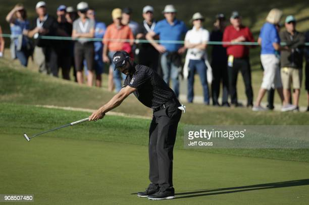 Adam Hadwin of Canada reacts to his putt during the final round of the CareerBuilder Challenge at the TPC Stadium Course at PGA West on January 21...