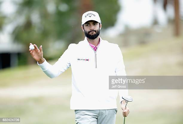Adam Hadwin of Canada reacts to his putt on the 18th hole during the final round of the CareerBuilder Challenge in partnership with The Clinton...