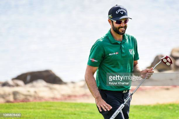 Adam Hadwin of Canada smiles on the 10th hole green during the final round of the Desert Classic on the Stadium Course at PGA West on January 20 2019...