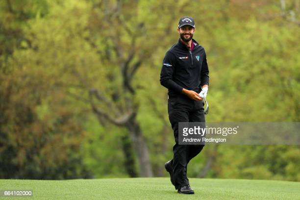 Adam Hadwin of Canada smiles on the fifth hole during a practice round prior to the start of the 2017 Masters Tournament at Augusta National Golf...