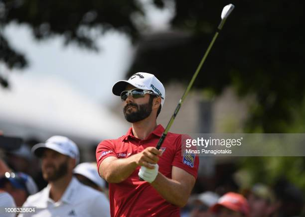 Adam Hadwin of Canada tees off during the second round at the RBC Canadian Open at Glen Abbey Golf Club on July 27 2018 in Oakville Canada