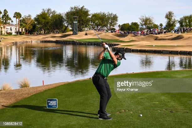Adam Hadwin of Canada tees off on the 13th hole during the final round of the Desert Classic on the Stadium Course at PGA West on January 20 2019 in...