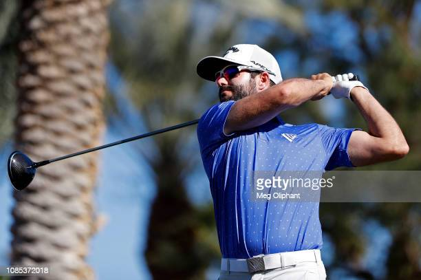 Adam Hadwin of Canada tees off on the 18th hole during the third round of the Desert Classic at Jack Nicklaus Tournament Course on January 19, 2019...