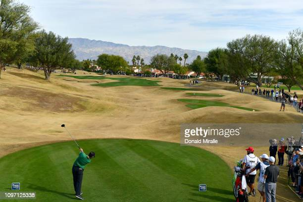 Adam Hadwin of Canada tees off the 1st hole during the final round of the Desert Classic at the Stadium Course on January 20 2019 in La Quinta...