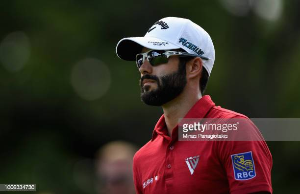 Adam Hadwin of Canada walks from the 10th tee during the second round at the RBC Canadian Open at Glen Abbey Golf Club on July 27 2018 in Oakville...