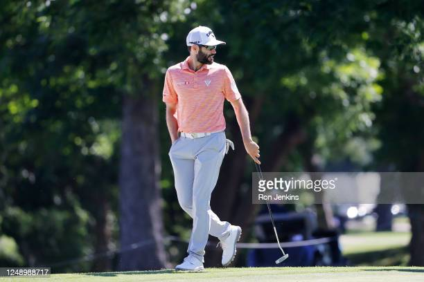 Adam Hadwin of Canada walks on the tenth green during the first round of the Charles Schwab Challenge on June 11, 2020 at Colonial Country Club in...