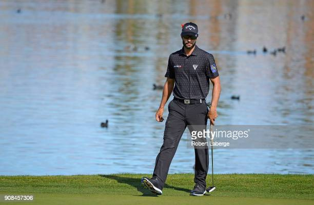 Adam Hadwin of Canada walks onto the seventh green during the final round of the CareerBuilder Challenge at the TPC Stadium Course at PGA West on...