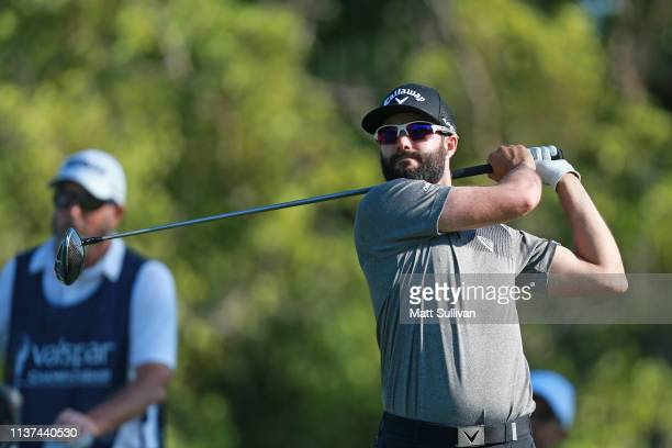 Adam Hadwin of Canada watches his tee shot during the first round of the Valspar Championship on the Copperhead course at Innisbrook Golf Resort on...