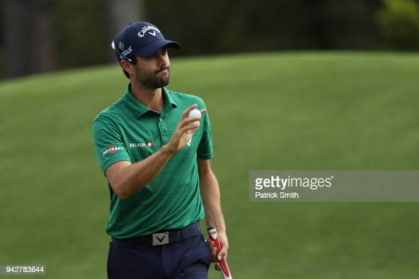Adam Hadwin of Canada waves on the eighth hole during the second round of the 2018 Masters Tournament at Augusta National Golf Club on April 6 2018...