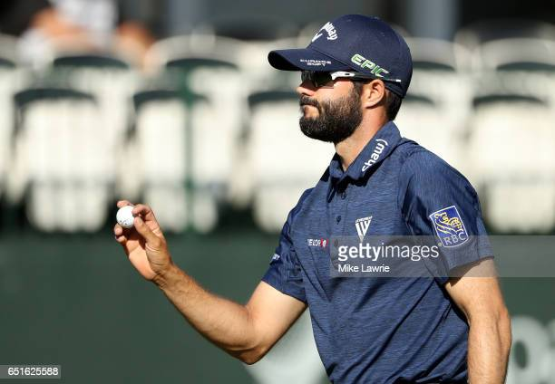 Adam Hadwin reacts after a birdie putt on the 17th green during the second round of the Valspar Championship at Innisbrook Resort Copperhead Course...