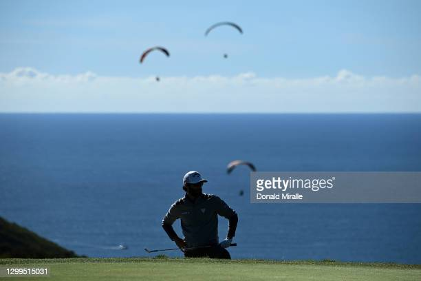 Adam Hadwin stands in the bunker on the 17th hole during round three of the Farmers Insurance Open at Torrey Pines South on January 30, 2021 in San...