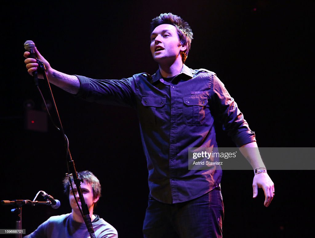 Adam Haggarty of Beyond The Curtain performs during the Rock For Recovery, A Benefit For Victims Of Hurricane Sandy at the Gramercy Theatre on January 17, 2013 in New York City.
