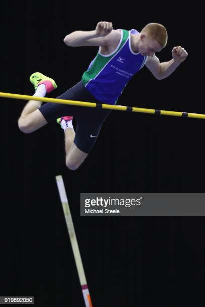 Adam Hague of City of Sheffield and Dearne on his way to victory in the men's pole vault final during day two of the SPAR British Athletics Indoor...