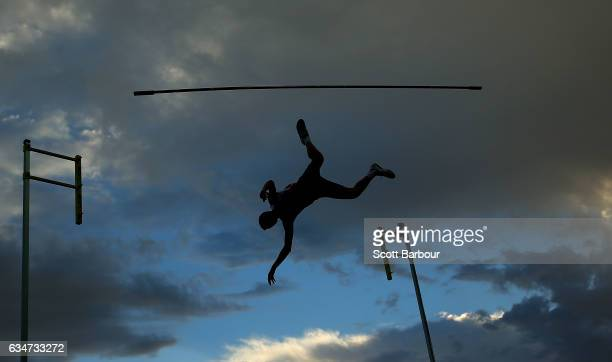 Adam Hague of England knocks the bar as he competes in the Mens Pole Vault during the Melbourne Nitro Athletics Series at Lakeside Stadium on...