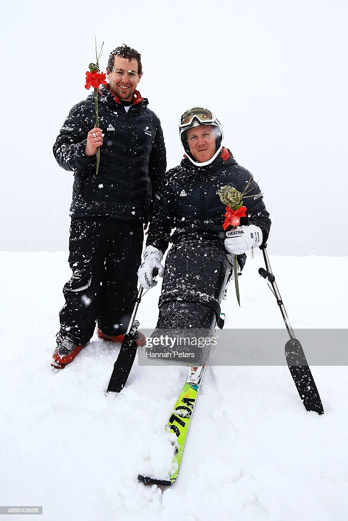 Adam Hall (L) and Corey Peters of New Zealand pose following the IPC Alpine Adaptive Slalom Southern Hemisphere Cup during the Winter Games NZ at Coronet Peak on August 24, 2015 in Queenstown, New Zealand.