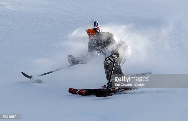 Adam Hall New Zealand in action during the Men's Slalom Sitting Adaptive Slalom competition at Coronet Peak New Zealand during the Winter Games...