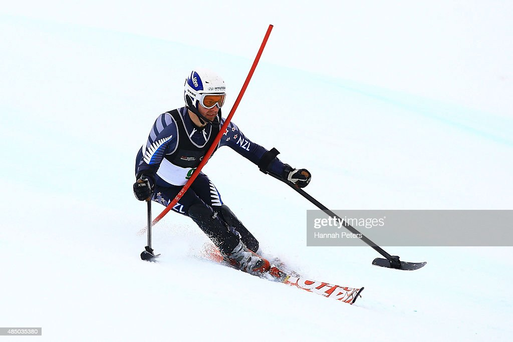 Adam Hall of New Zealand competes in the Men Slalom Standing LW1 in the IPC Alpine Adaptive Slalom Southern Hemisphere Cup during the Winter Games NZ at Coronet Peak on August 24, 2015 in Queenstown, New Zealand.