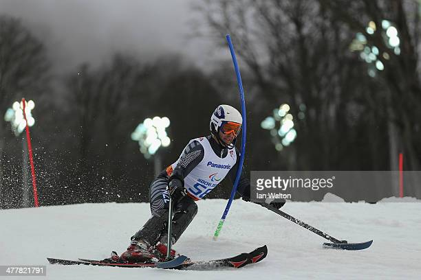 Adam Hall of New Zealand competes in the Men's SC Slalom Run 1 standing during day four of Sochi 2014 Paralympic Winter Games at Rosa Khutor Alpine...