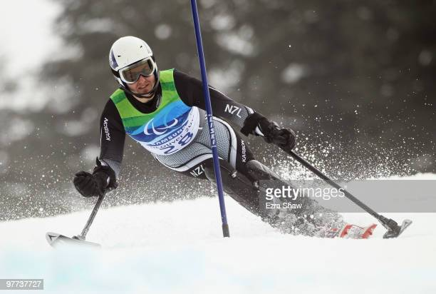 Adam Hall of New Zealand competes in the Men's Standing Slalom during Day 4 of the 2010 Vancouver Winter Paralympics at Whistler Creekside on March...