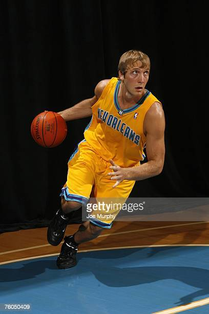 Adam Haluska of the New Orleans Hornets poses for an action portrait during the 2007 NBA Rookie Photo Shoot on July 27, 2007 at the MSG Training...